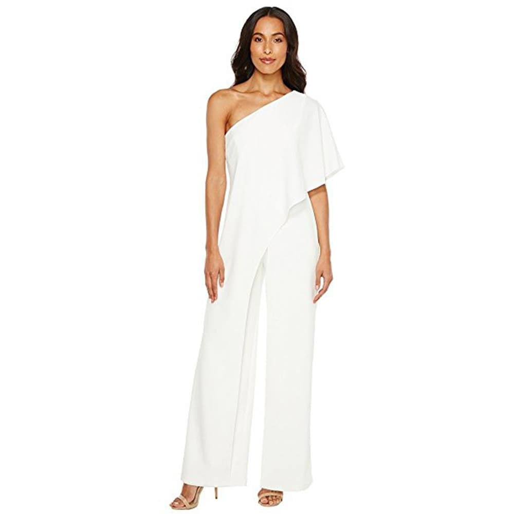 Shop Adrianna Papell Women\'s One Shoulder Crepe Melania Jumpsuit ...