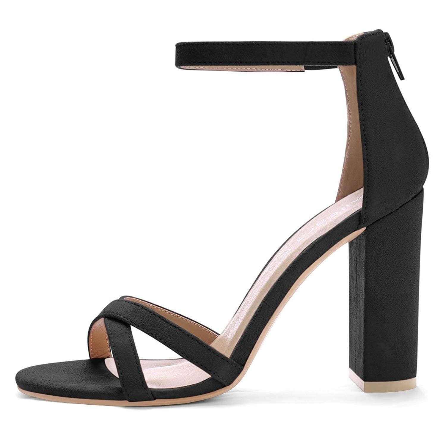 1ea64448232 Allegra K Women's Crisscross Strap Open Toe Block Heel Sandals - 10