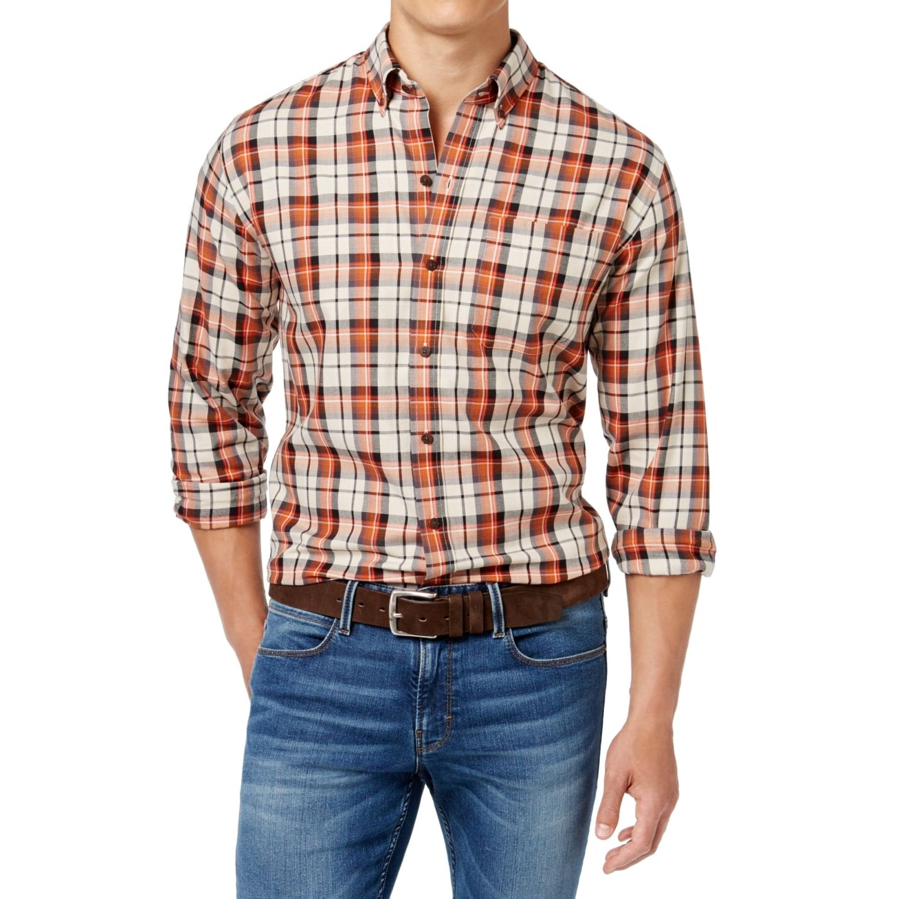 Shop Cutter Buck New Burnt Orange Mens Size Xlt Plaid Button Down