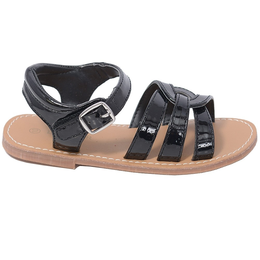 aab6057b1 Shop L Amour Patent Black Woven Strap Summer Sandals Toddler Girls 5-10 -  Free Shipping On Orders Over  45 - Overstock - 23085810