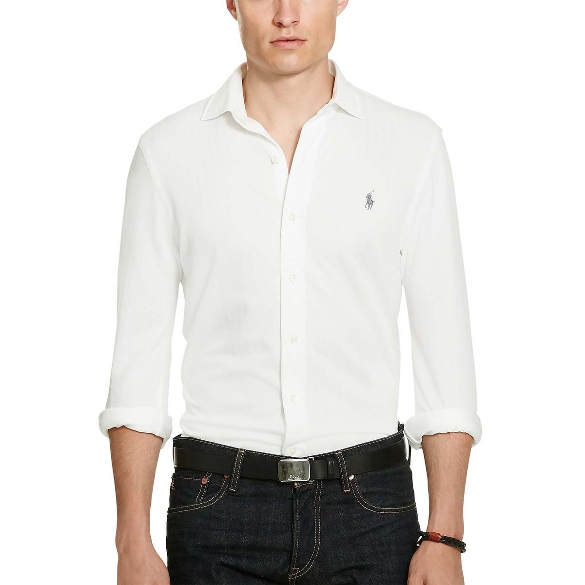 Shop Polo Ralph Lauren White Herringbone Knit Dress Shirt Large L