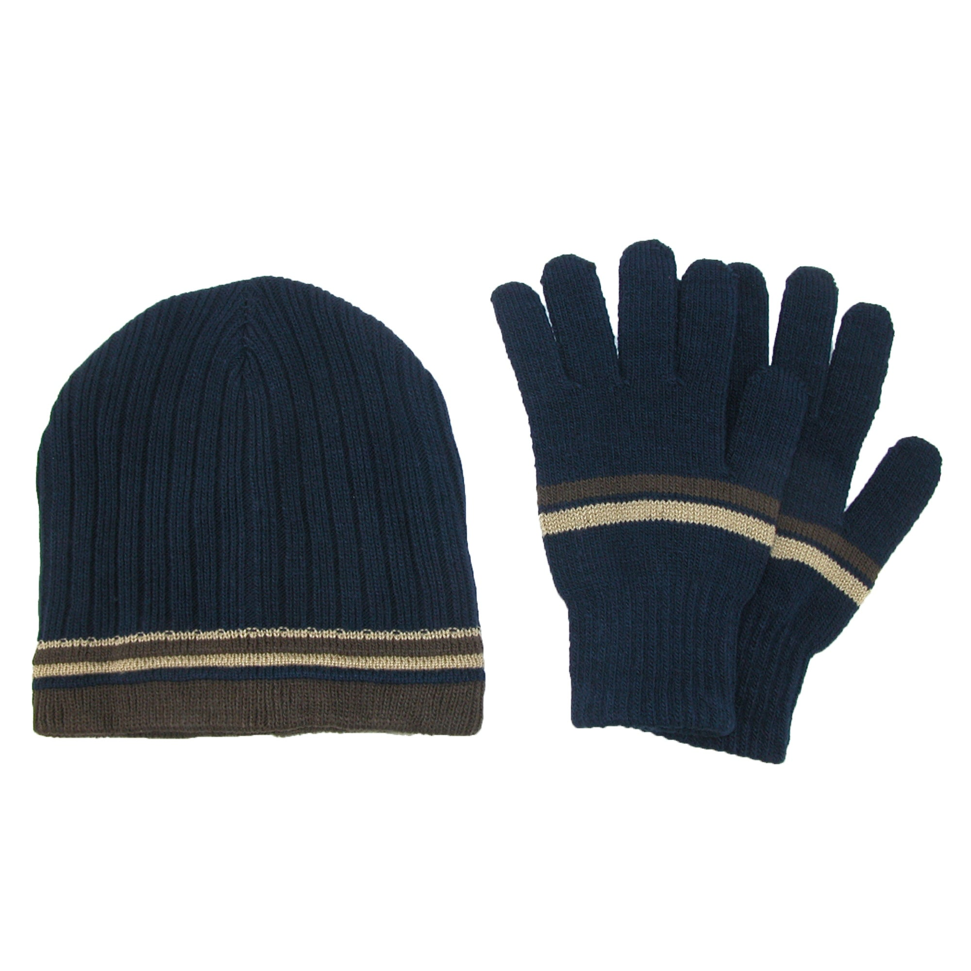 CTM® Men s Knit Striped Beanie and Gloves Winter Set - One size - Free  Shipping On Orders Over  45 - Overstock - 20866491 4bba31bff57