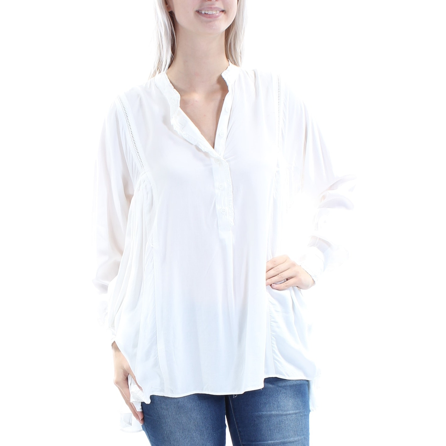 00fc67adcf951 Shop MAX STUDIO Womens Ivory Ruffled Long Sleeve V Neck Hi-Lo Top Size  XS  - On Sale - Free Shipping On Orders Over  45 - Overstock - 22832191