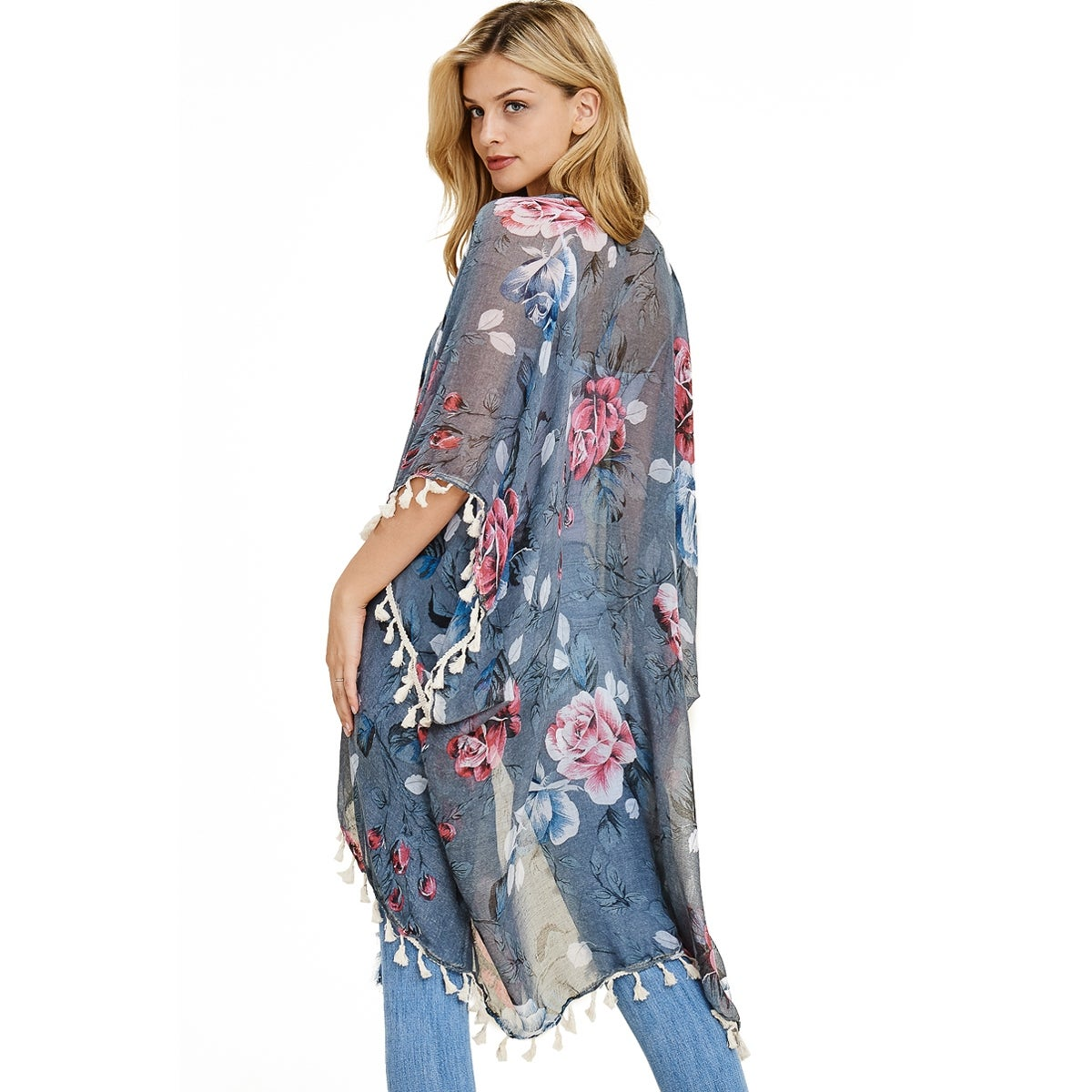 34cb46f9d1f8a Shop Riah Fashion Women's Floral Tassel Kimono Cardigan - Free Shipping On  Orders Over $45 - Overstock - 24267544