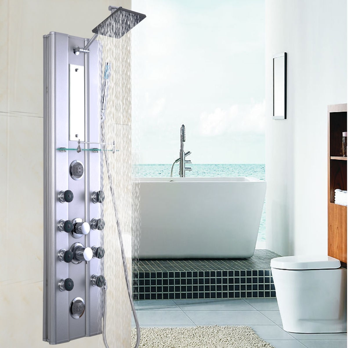 Shop Costway 46u0027u0027 Bathroom Aluminum Shower Panel Thermostatic Tower W/ 10 Massage  Jets   As Pic   Free Shipping Today   Overstock.com   18242538