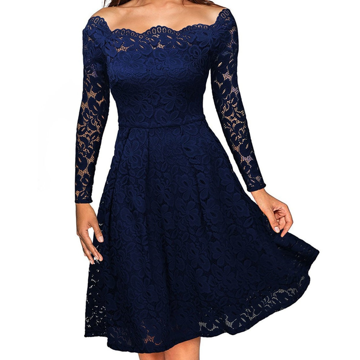 065472e5243f9 Shop 2017 Elegant Lace off shoulder dress Solid long sleeve A-Line Fashion  Sexy Slim Party Dresses Plus size S-XXL - Free Shipping On Orders Over  45  ...