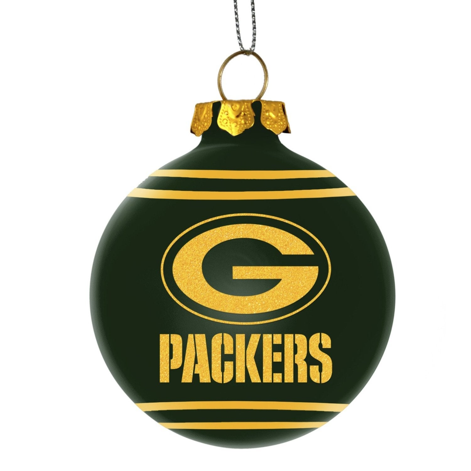 shop green bay packers glitter logo glass ball ornament green free shipping on orders over 45 overstockcom 18680843 - Green Bay Packers Christmas Ornaments