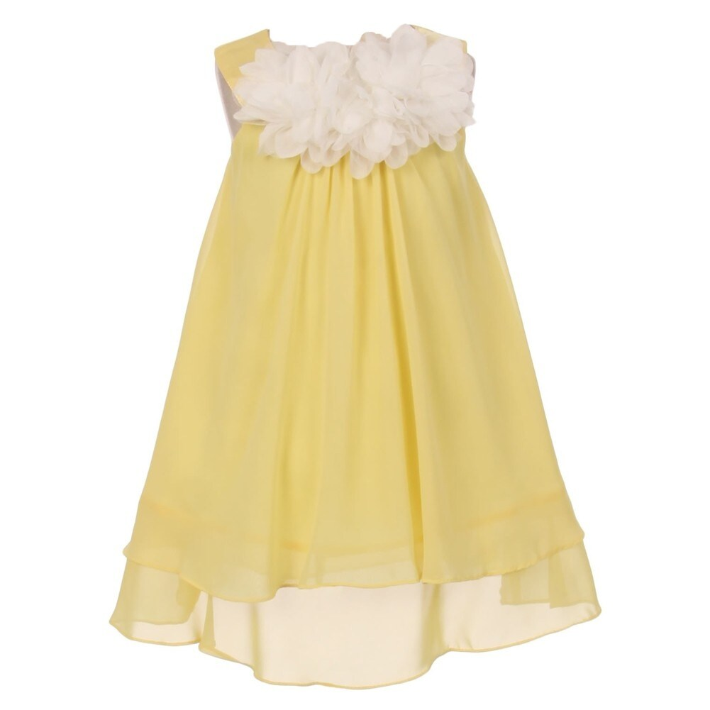 Kids Dream Girls Yellow Mesh Flowers Chiffon Special Occasion Dress