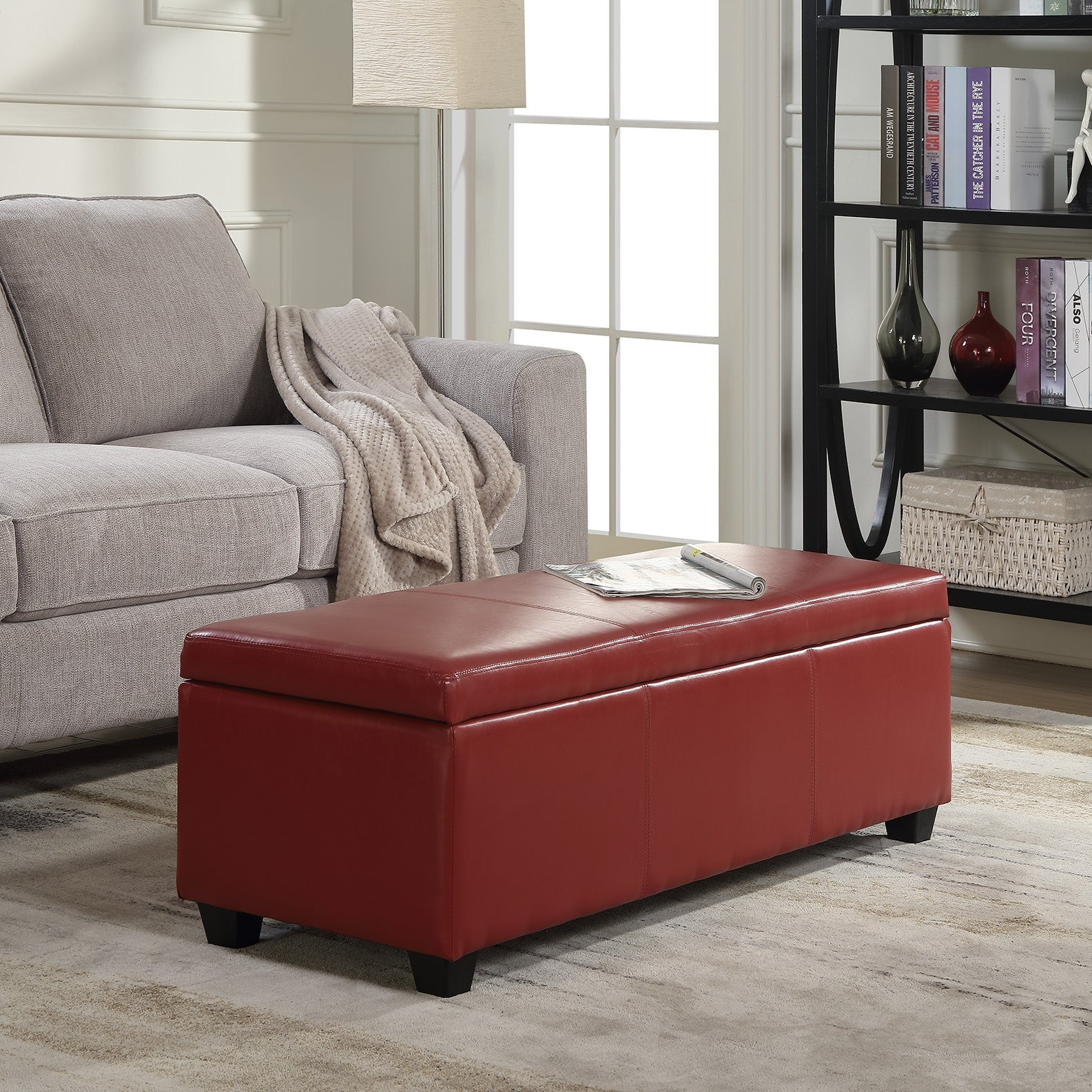 Belleze red ottoman bench top storage living room bed home leather rectangular 48inch