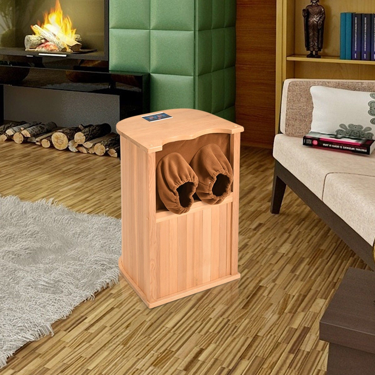 Costway Infrared Wooden Foot Sauna Dry Bath Health Spa & Therapy w ...