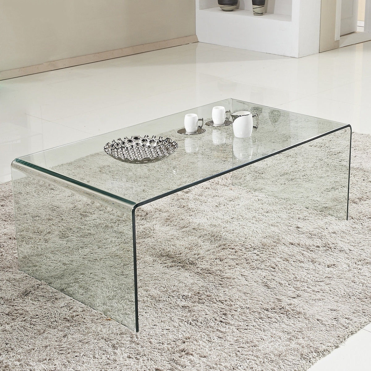 Shop Costway Tempered Glass Coffee Table Accent Cocktail Side Table