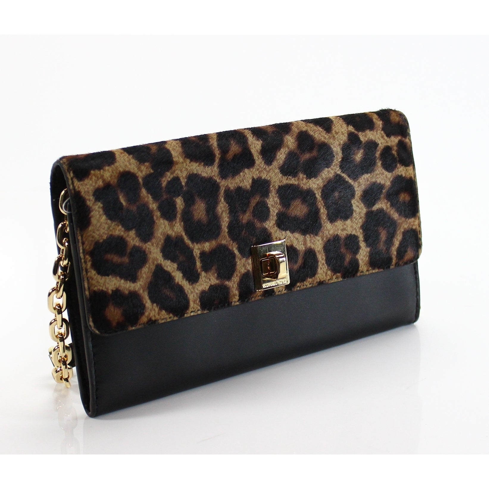 a69b7b095728 Shop Michael Kors NEW Black Leopard Haircalf Wallet On A Chain Leather Purse  - Free Shipping Today - Overstock - 18371744