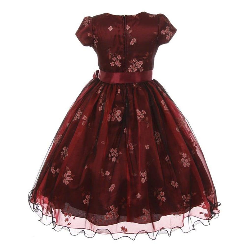 Shop Kiki Kids Little Girls Burgundy Black Mesh Organza Flower ...