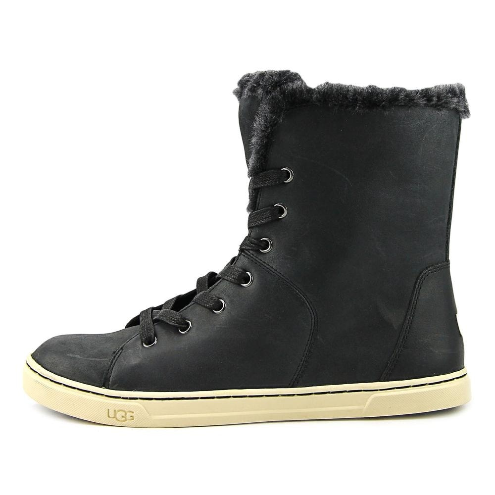 17cb5189ec3 UGG Croft Luxe Quilt Women Round Toe Leather Black Winter Boot