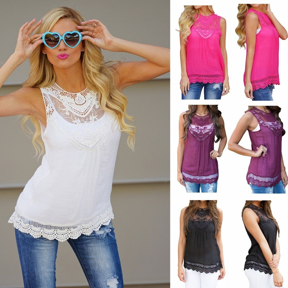 e7a40c701a Shop Fashion Women Summer Vest Top Sleeveless Blouse Casual Tank Tops T-Shirt  Lace - Free Shipping On Orders Over $45 - Overstock - 11841868