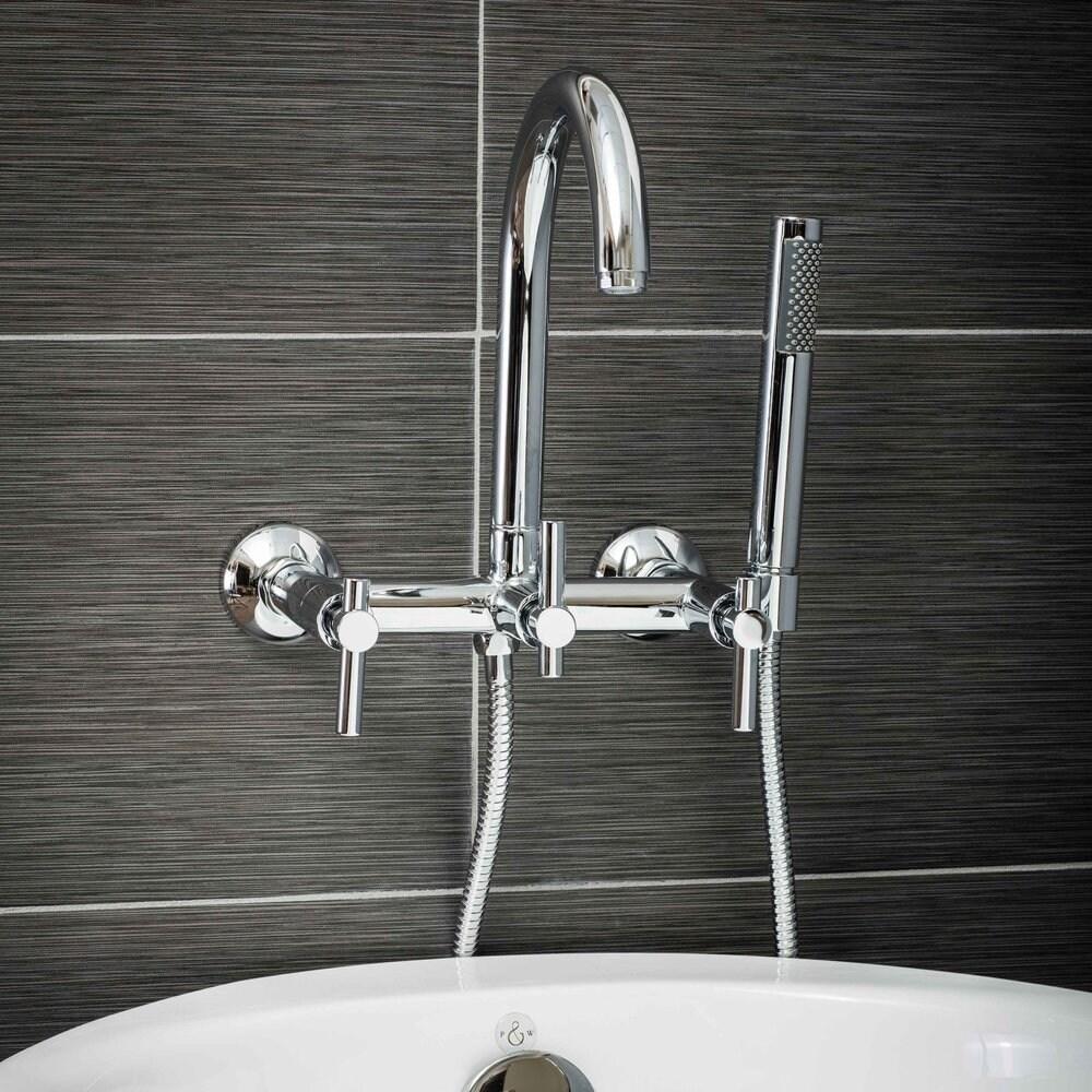 Pelham & White Luxury Tub Filler Faucet, Modern Design, Wall Mount ...