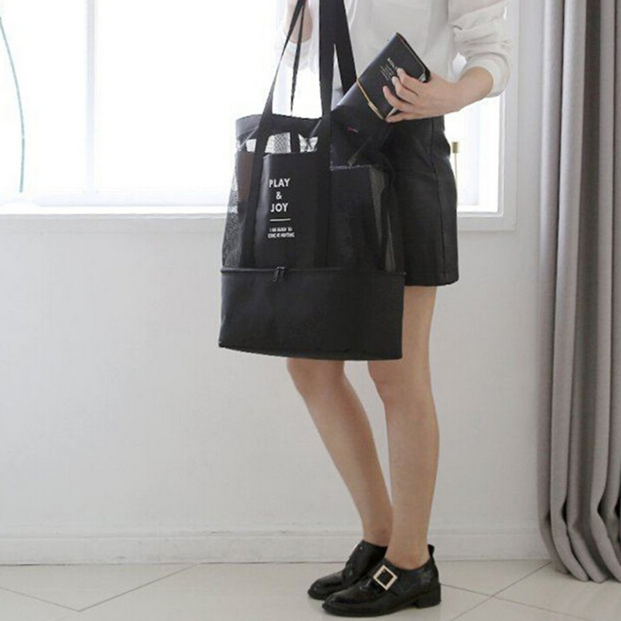 849bb54f6d65 Picnic Bag - 2 In 1 Mesh Beach Tote Bag With Food Cooler