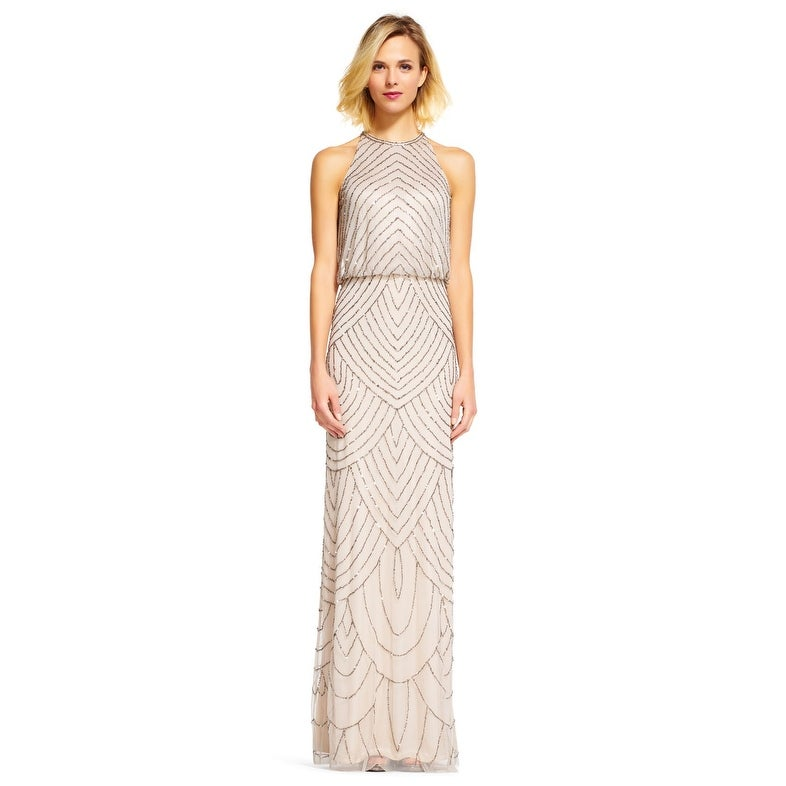 9777f6da Shop Adrianna Papell Art Deco Beaded Blouson Dress with Halter Neckline  191914100 - Free Shipping Today - Overstock - 20657121