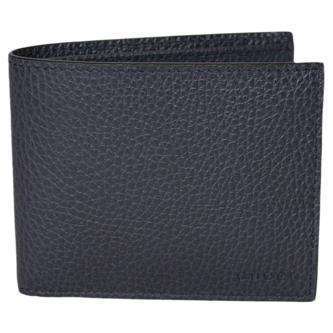 11333f674cb7 Gucci Men's 260987 4009 Blue Leather Trademark Logo Bifold Wallet - 4.5