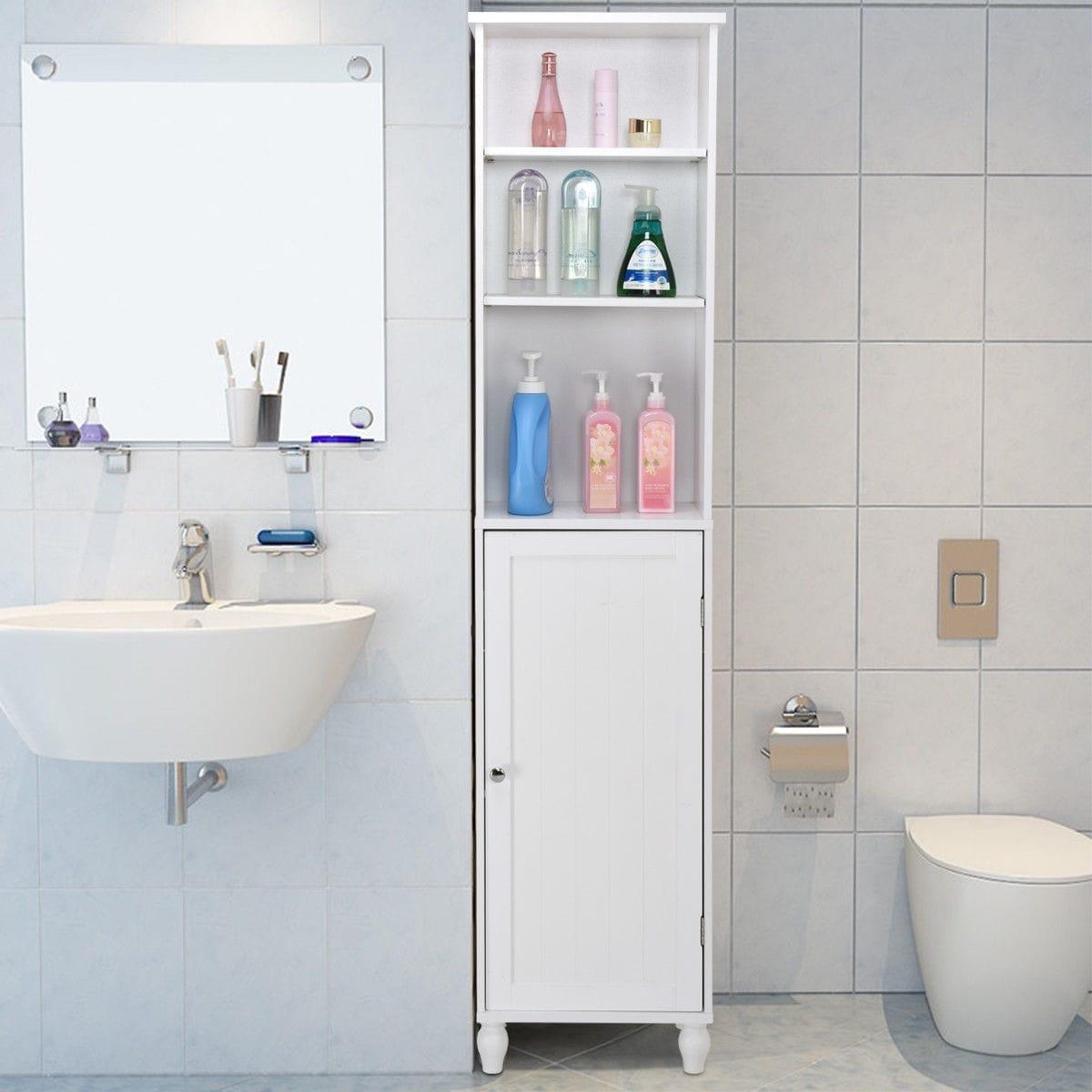 Shop Costway Bathroom Storage Cabinet Tower Bath Cabinet Storage ...