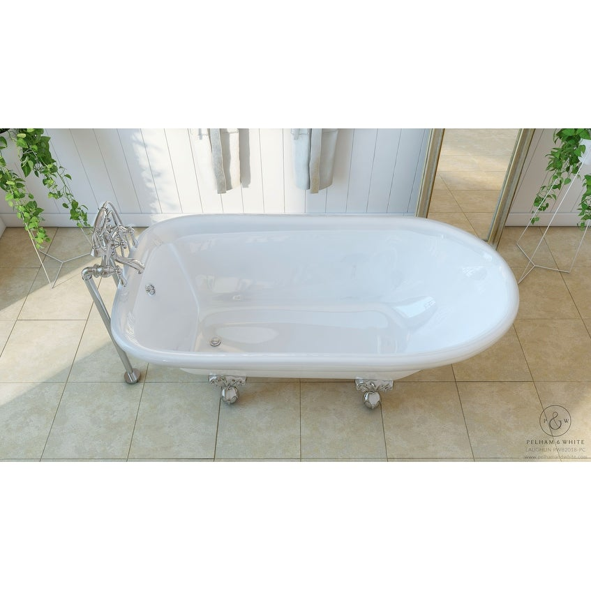Shop Pelham & White Luxury 60 Inch Clawfoot Tub with Chrome Ball and ...