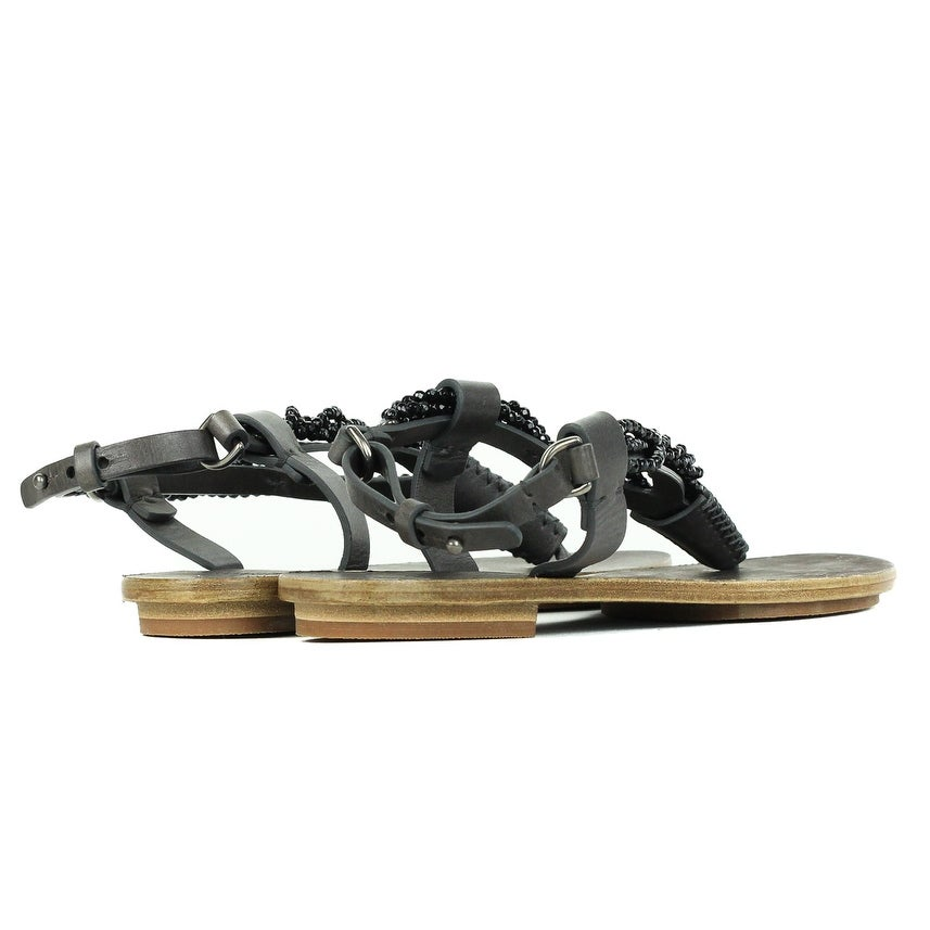 acdff93a4b8 Shop Brunello Cucinelli Womens Dark Grey Beaded Thong Sandals Size IT37 US7~ RTL 1200 - Free Shipping Today - Overstock - 22995192