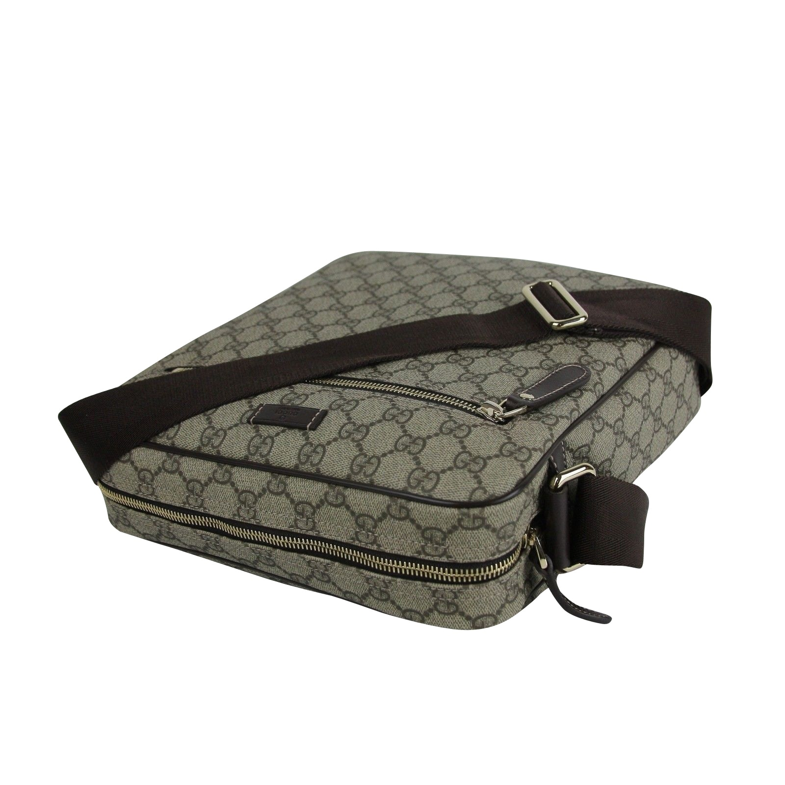 24094b9d769a Shop Gucci Men's Shoulder Beige/Ebony GG Coated Canvas Bag 201448 FCIGG  8588 - One size - Free Shipping Today - Overstock - 27603155
