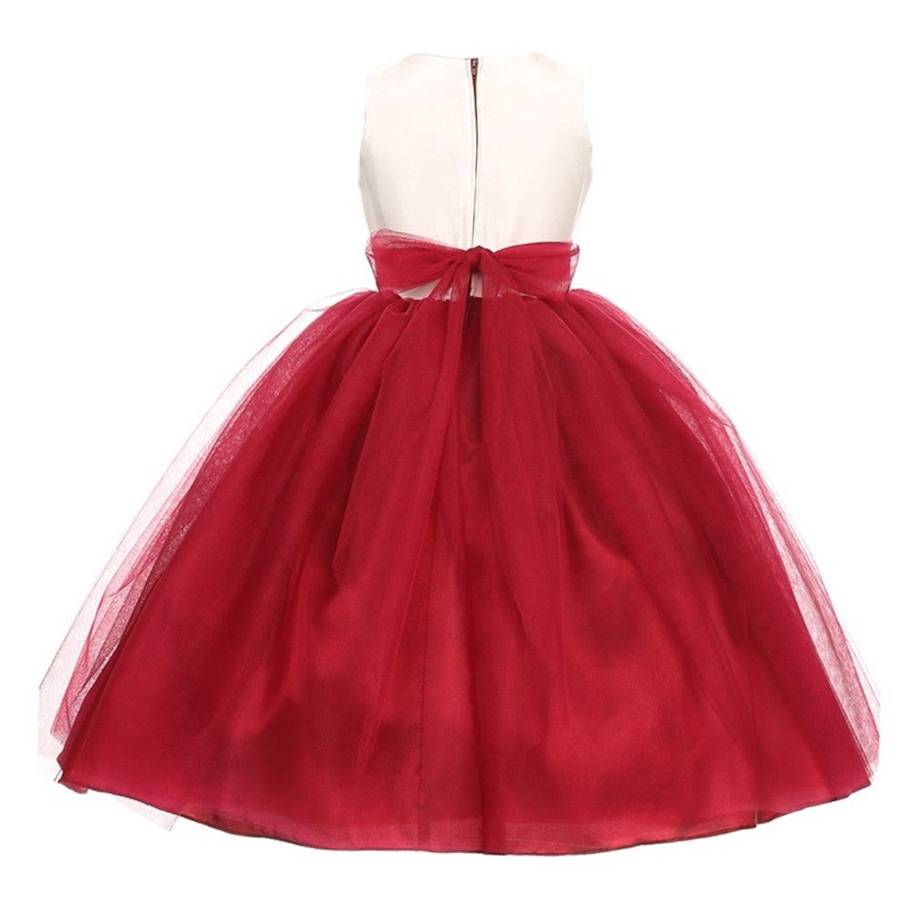 Shop Good Girl Little Girls Burgundy Off White Tulle Adorned Flower