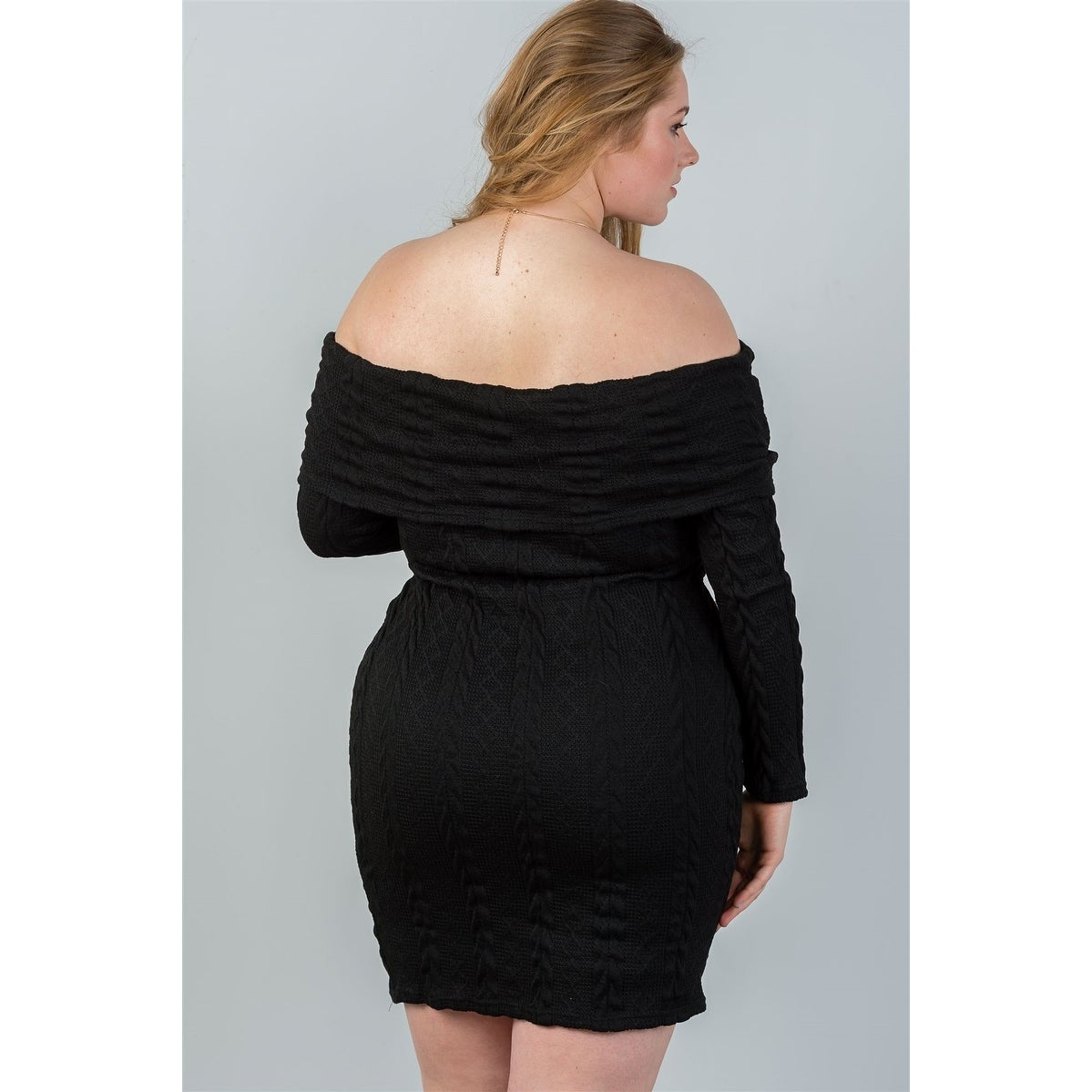 Ladies fashion black plus size off the shoulder black ribbed long sleeve bodycon