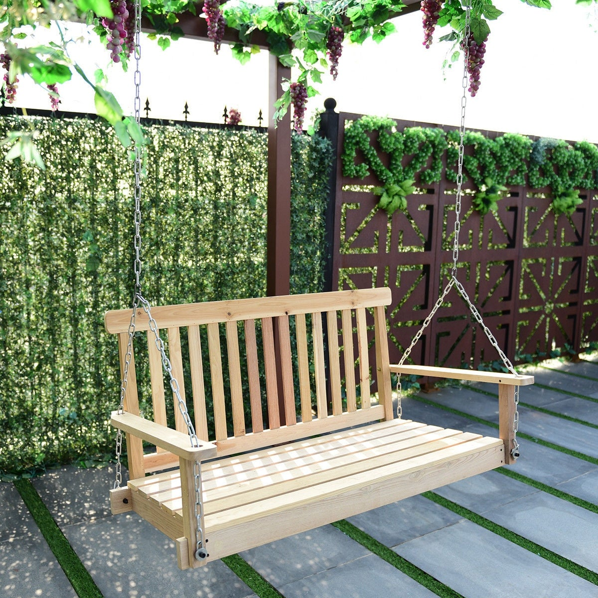Shop Costway 4 FT Porch Swing Natural Wood Garden Swing Bench Patio Hanging  Seat Chains   As Pic   Free Shipping Today   Overstock.com   19567368