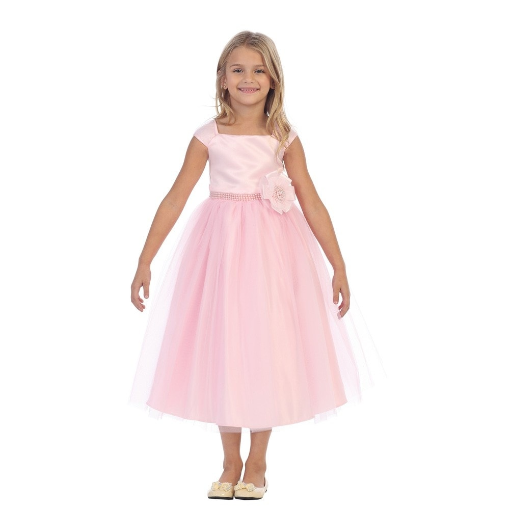 TGI Kids Girls Pink Satin Floral Pearl Accent Junior Bridesmaid ...