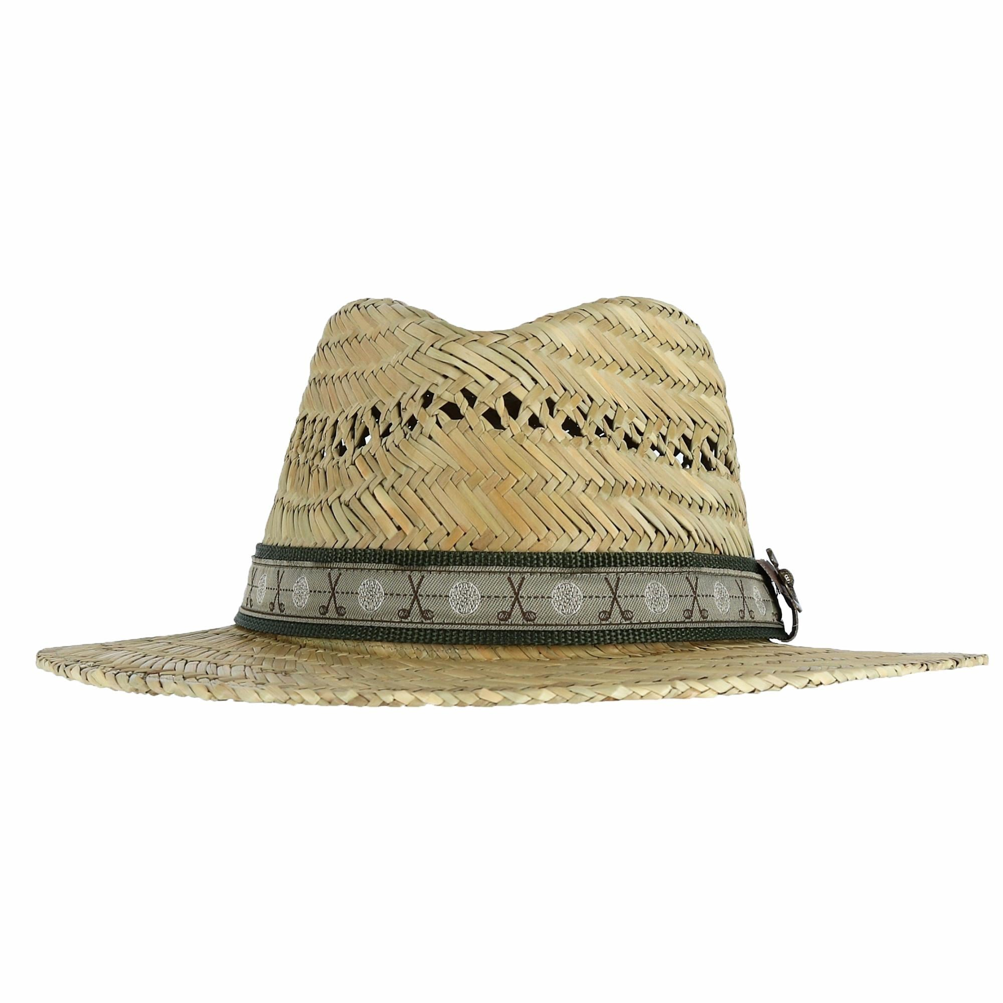 db8a2ae76fb Scala Classico Men s Rush Straw Safari Hat with Golf Club Pin and Hatband