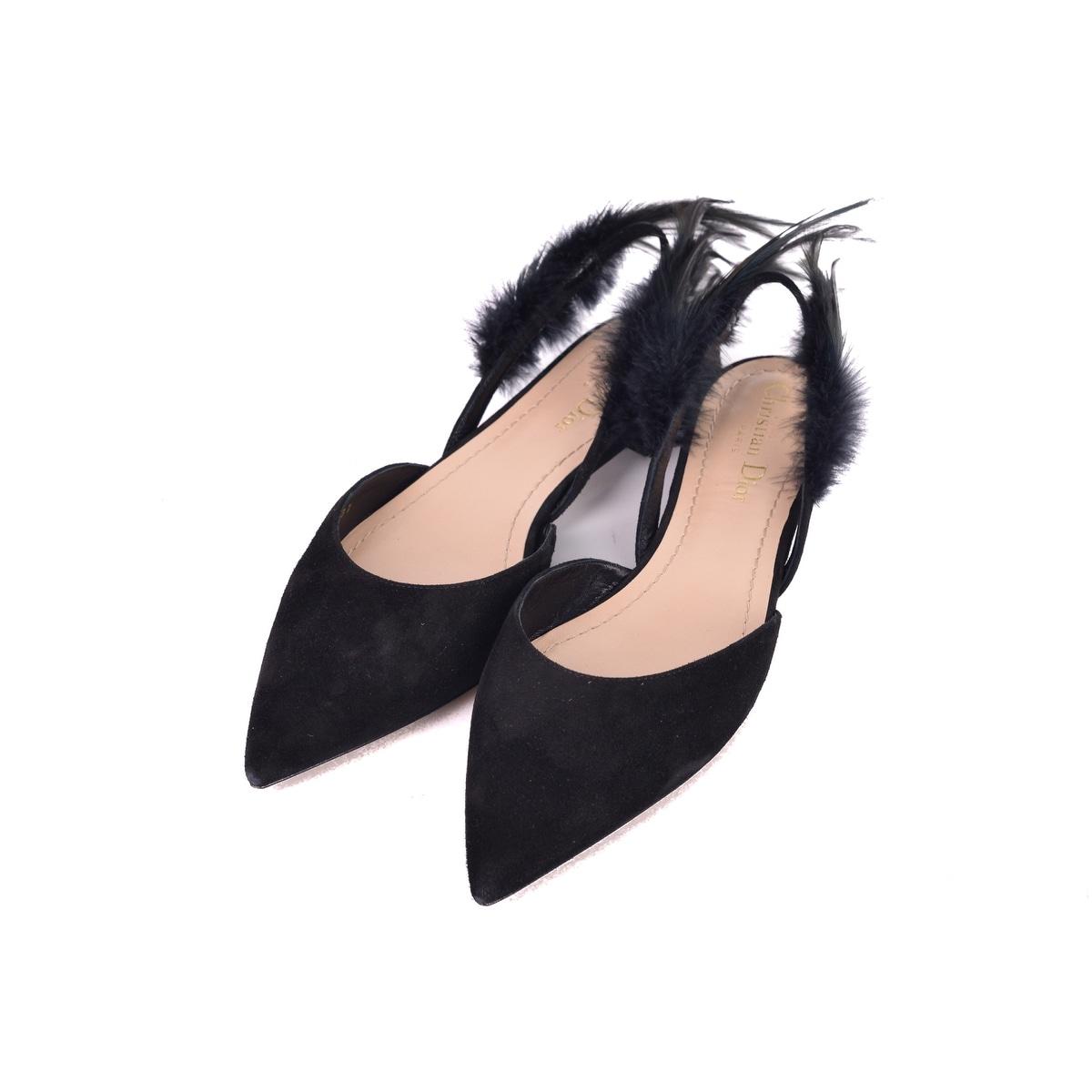 7613329a879 Dior Womens Black Suede Dior Ethnie Feather Flats