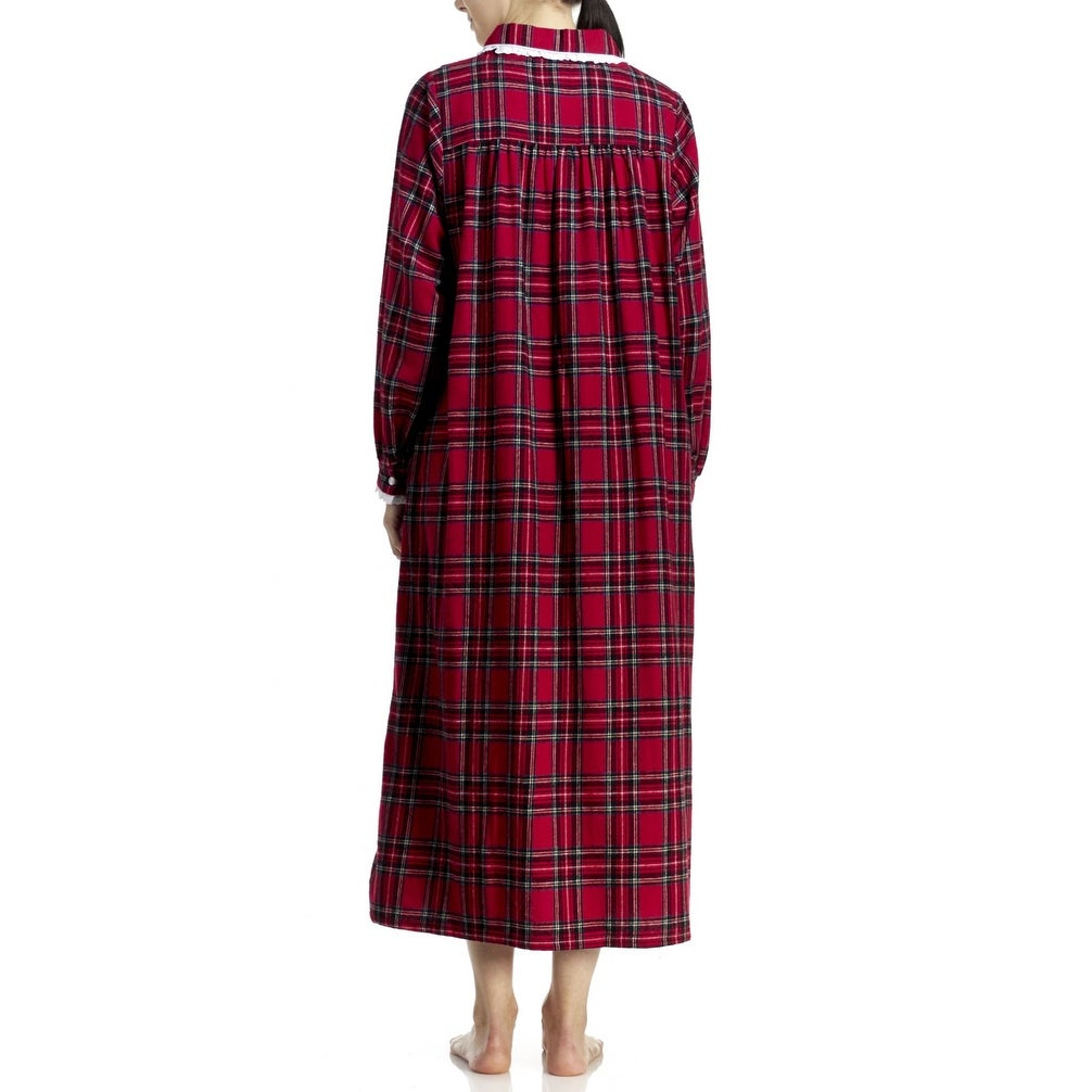 499d645740 Shop Lanz of Salzburg Women s Long Flannel Nightgown - Red - Free Shipping  Today - Overstock - 19429253