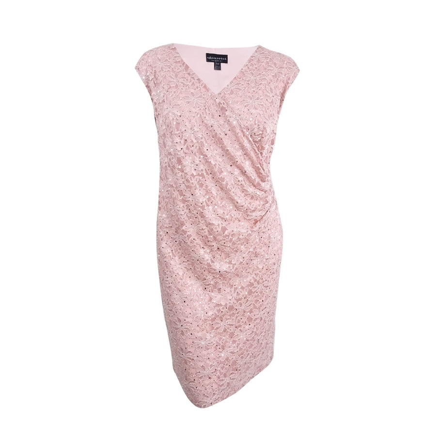 51449d0910e5 Shop Connected Women's Petite Sequined Lace Surplice Dress (6P, New Nude) -  New Nude - 6P - Free Shipping Today - Overstock - 27342508