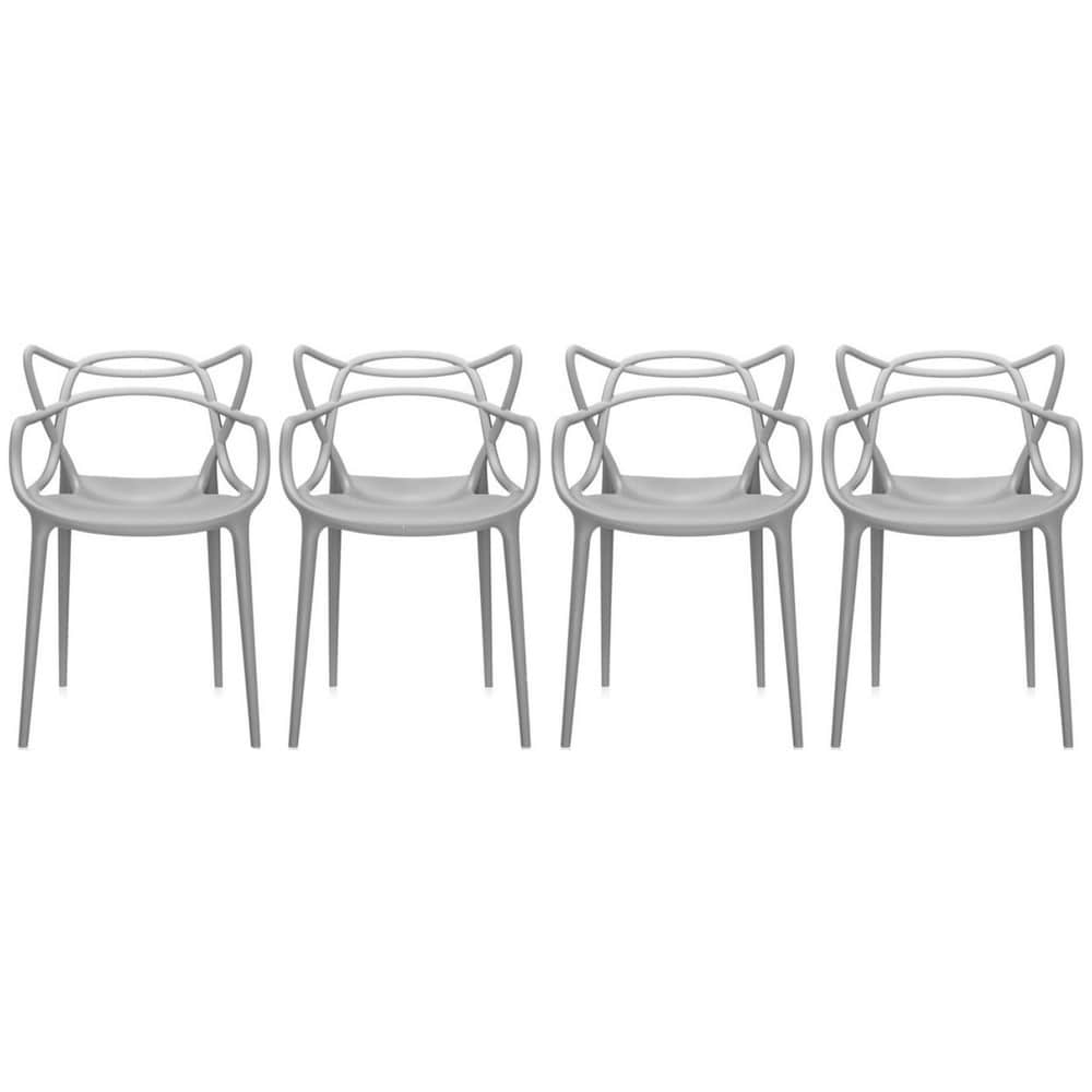 2xhome Set Of 4 Modern Contemporary Plastic Stackable Design Masters Chair  Dining Arm Chairs Outdoor Living Room Patio Garden   Free Shipping Today ...