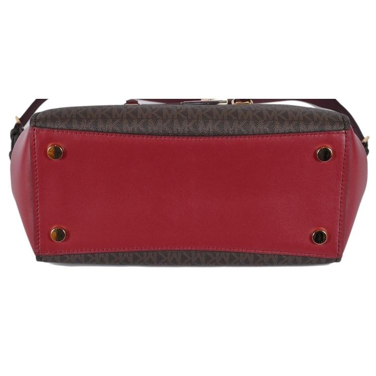 9ca216230dd5 Shop Michael Kors Large Brown Burgundy Logo Benning Handbag Satchel W Strap  - Free Shipping Today - Overstock - 25744492