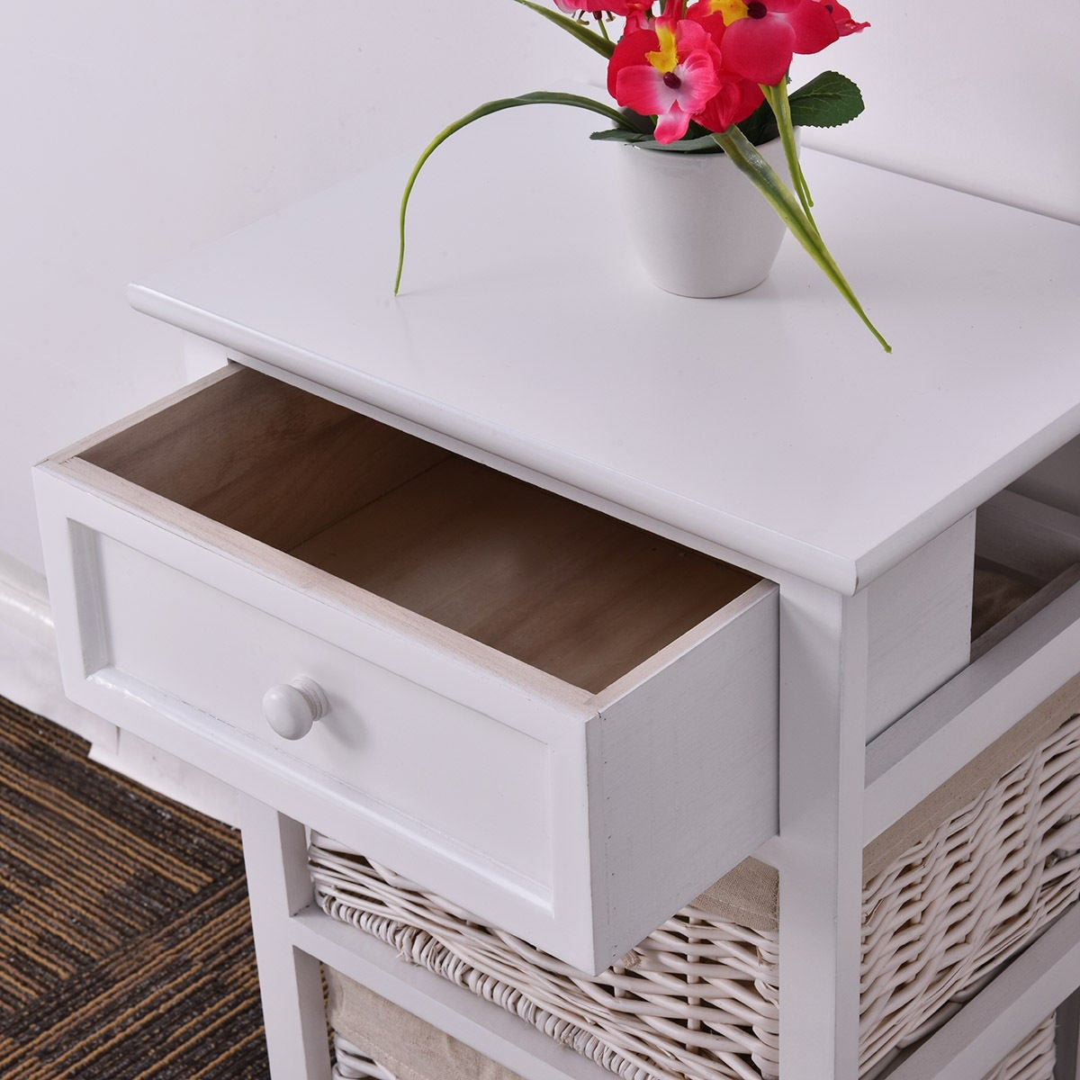 Shop Costway White Night Stand 3 Tiers 1 Drawer Bedside End Table Organizer  Wood W/2 Baskets   Free Shipping Today   Overstock.com   18299325