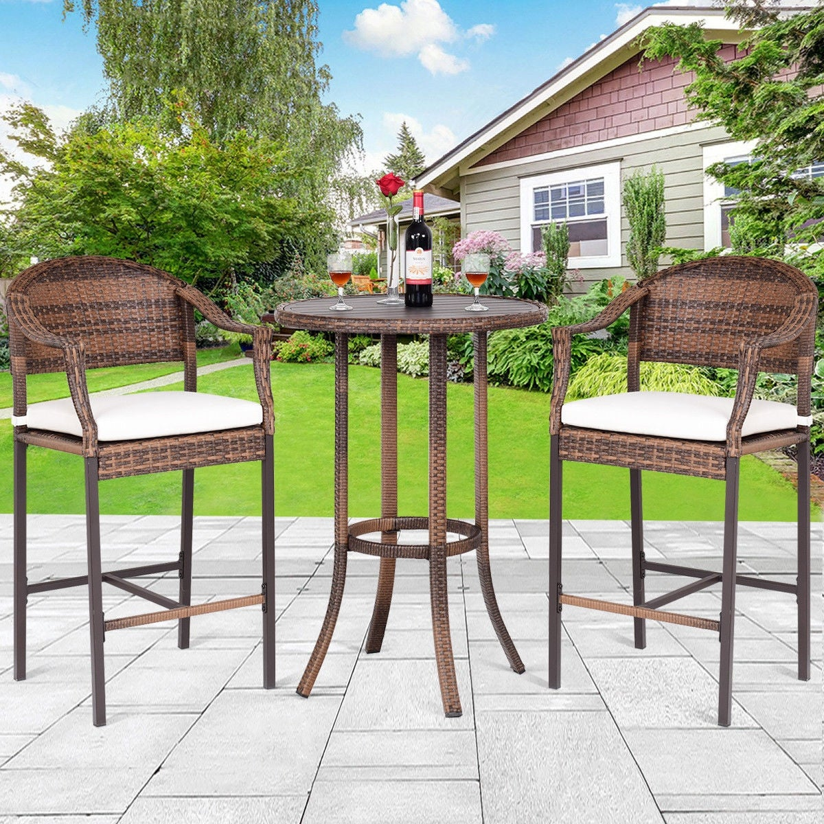 Shop Costway 3PC Outdoor Rattan Bar Stool Table Rattan Patio Furniture Set  Garden Poolside   Set Of 3   Free Shipping Today   Overstock.com   23115203