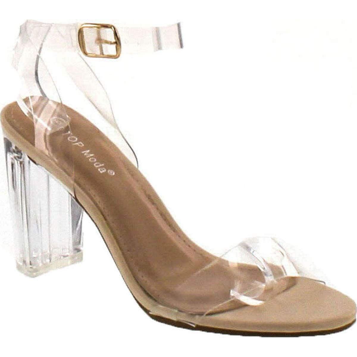 3210c22c8 Shop Top Moda Women's Alma-70 Lucite Clear Strappy Block Chunky High Heel  Open Peep Toe Sandal - Free Shipping On Orders Over $45 - Overstock -  14820228