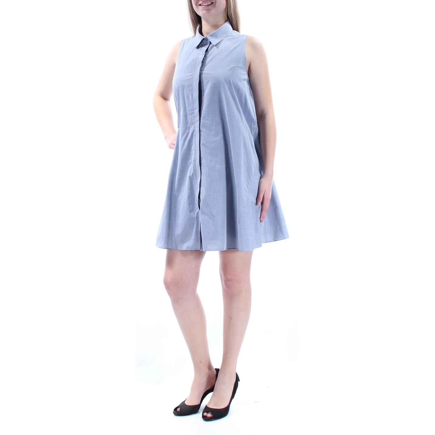 Shop Rachel Roy Womens Blue Sleeveless Collared Mini Shirt Dress