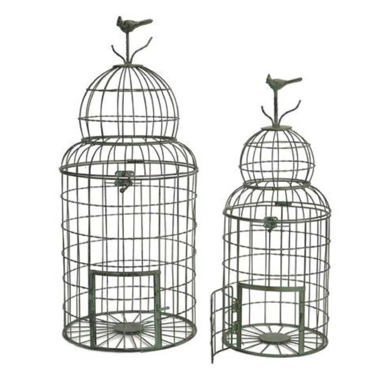 Set of 2 Springtime Domed Weathered Chicken Wire Bird Cage with Tiny ...