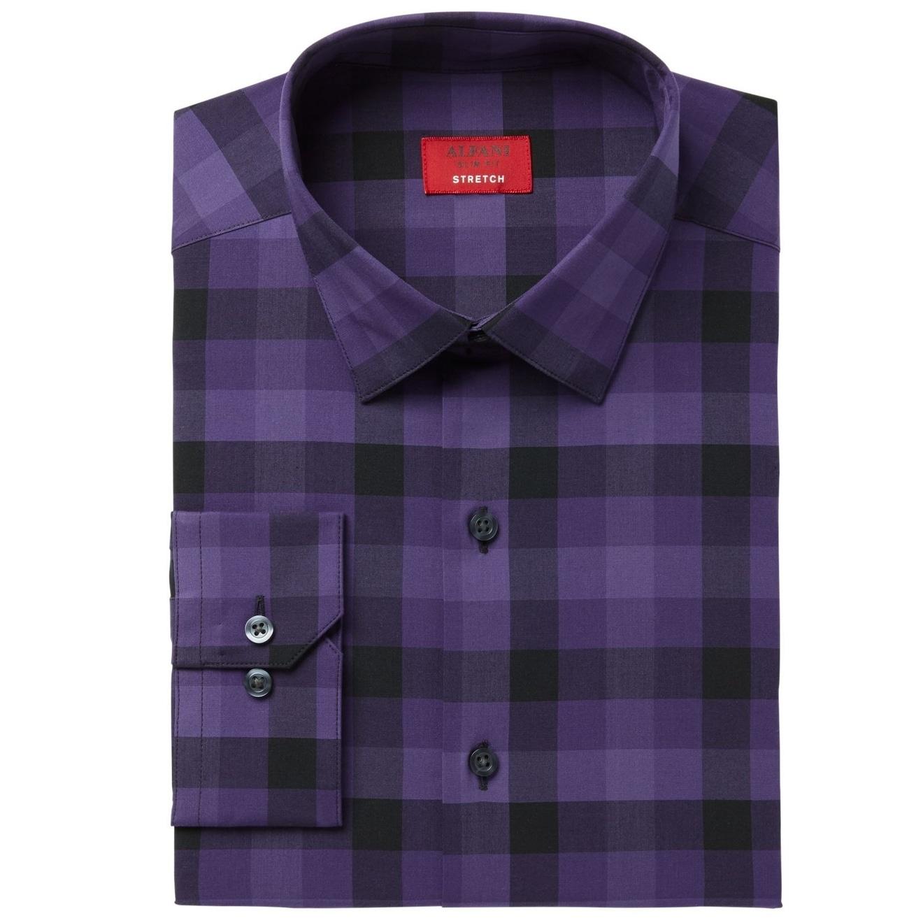 Shop Alfani Mens Small 14 14 12 Slim Plaid Dress Shirt Free