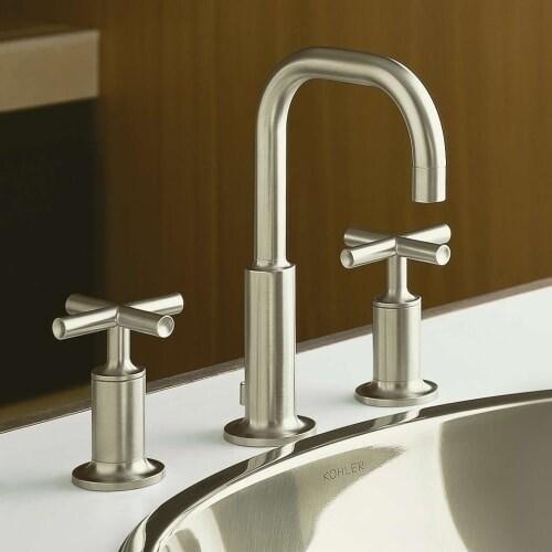 Shop Kohler K Purist Widespread Bathroom Faucet With Ultra - Kohler purist bathroom sink