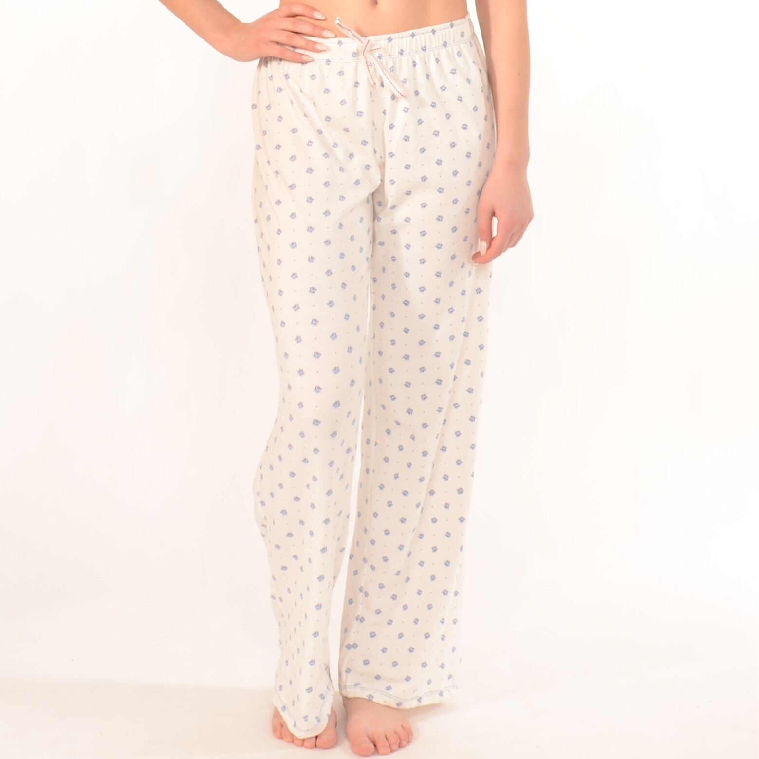 Pajama Bottoms In White With Flower Pattern Free Shipping On