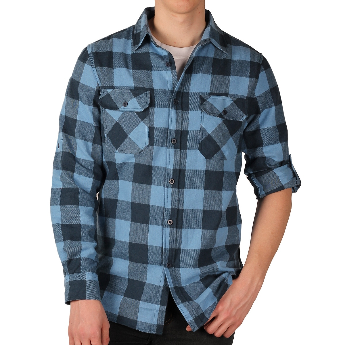 2172605f25f7 Shop Straight Faded Men's Roll-Sleeve Flannel Shirt - Free Shipping On  Orders Over $45 - Overstock - 14466366
