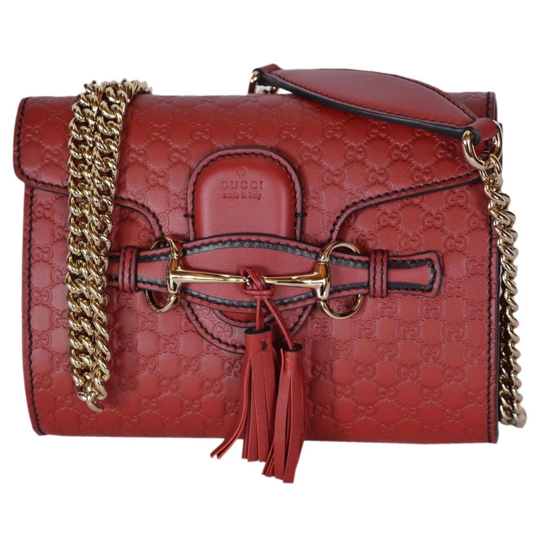 45f8483c115d Gucci 449636 Red Micro GG Guccissima Leather MINI Emily Crossbody Purse