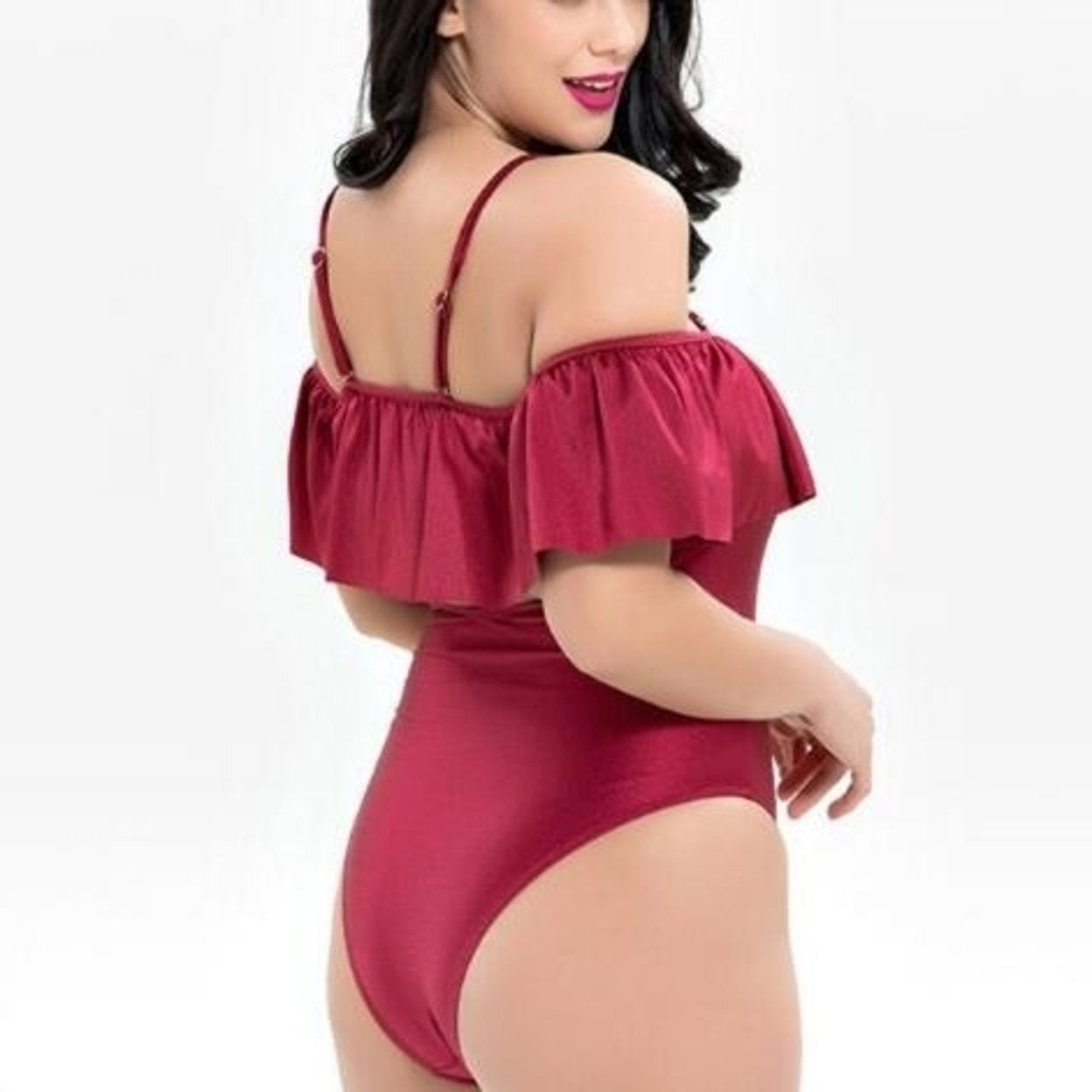 0f76e19fbaa Shop Sexy Strap Off the Shoulder Lotus Sleeve Plus Size Bathing Suits - On  Sale - Free Shipping Today - Overstock - 27517093
