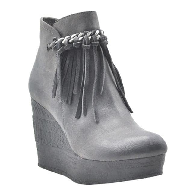 8408323418e Shop Sbicca Women s Zepp Platform Wedge Bootie Grey Faux Leather - On Sale  - Free Shipping Today - Overstock.com - 12071768