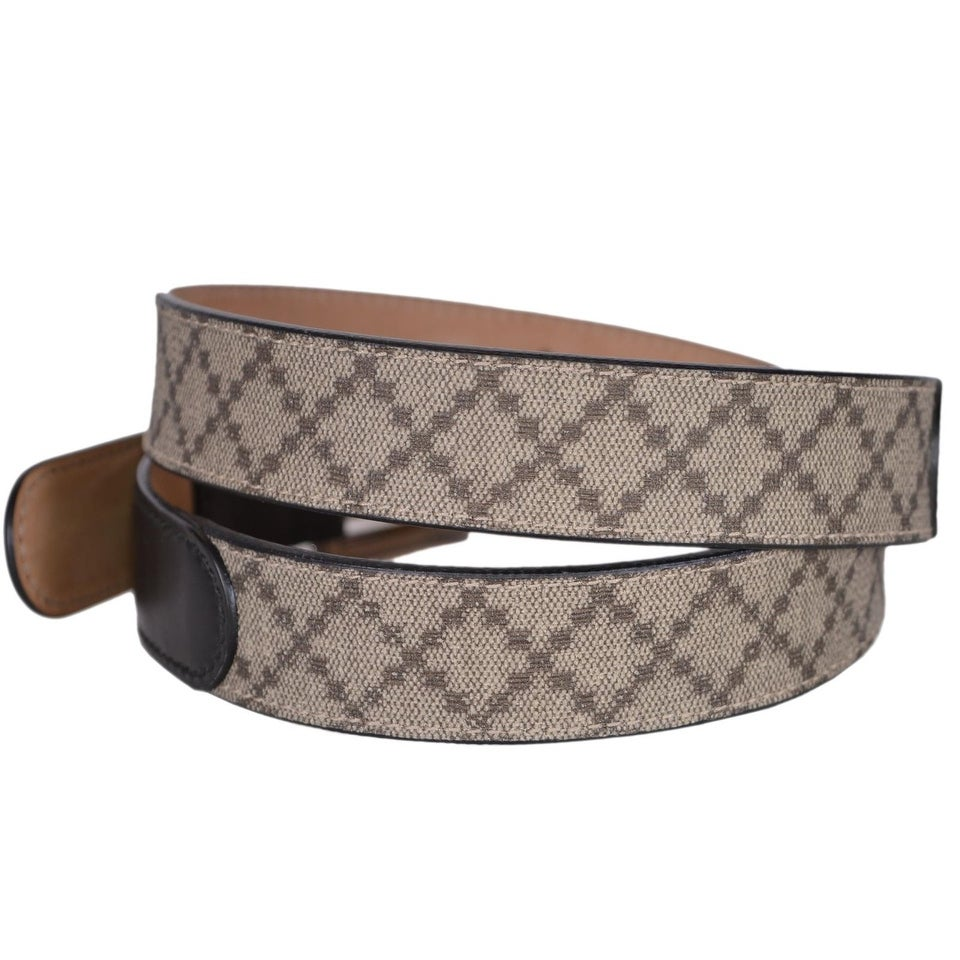 7a4240bd6 Shop New Gucci Men's 268648 Beige Coated Canvas and Black Leather Diamante  Belt 44 110 - On Sale - Free Shipping Today - Overstock - 20465285